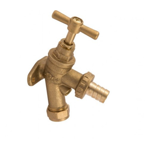 Outside Bib Tap With Built In Back Plate & Non Return Valve - 15mm