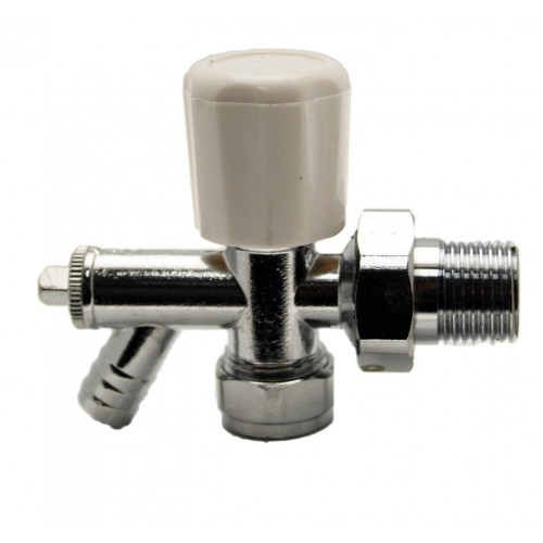 15mm Trent Angled Manual Radiator Valve With Drain Off
