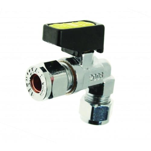 Angled Mini Lever Gas Valve - 8mm