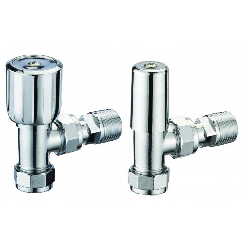 Pegler Terrier Manual Angled Radiator Valves - Chrome (Pair)