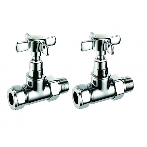 Pegler Terrier Manual Crosshead Traditional Straight Radiator Valves - Chrome (Pair)