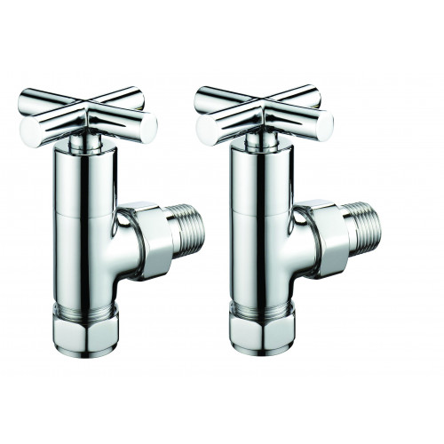 Pegler Terrier Manual Crosshead Modern Angled Radiator Valves - Chrome (Pair)