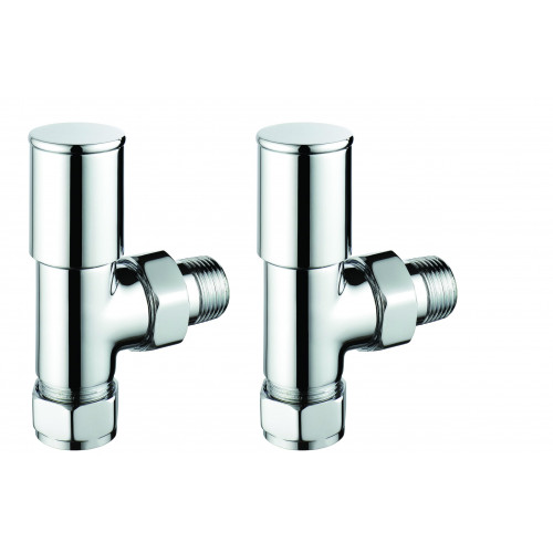 Pegler Terrier Manual Modern Angled Radiator Valves - Chrome (Pair)