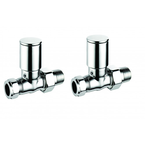 Pegler Terrier Manual Modern Straight Radiator Valves - Satin Nickel (Pair)