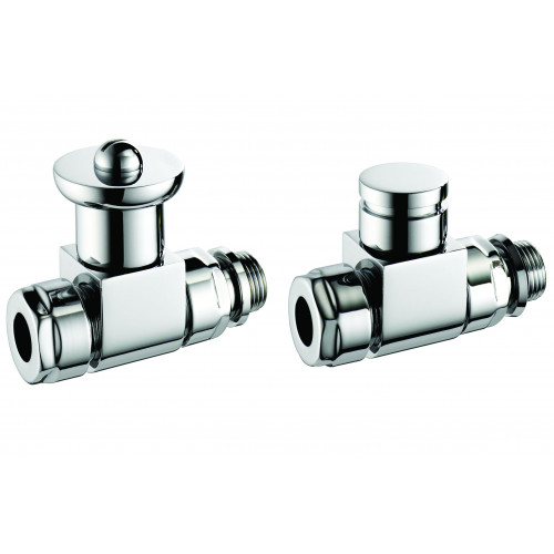 Pegler Terrier Manual Ultra Modern Straight Radiator Valves - Chrome (Pair)