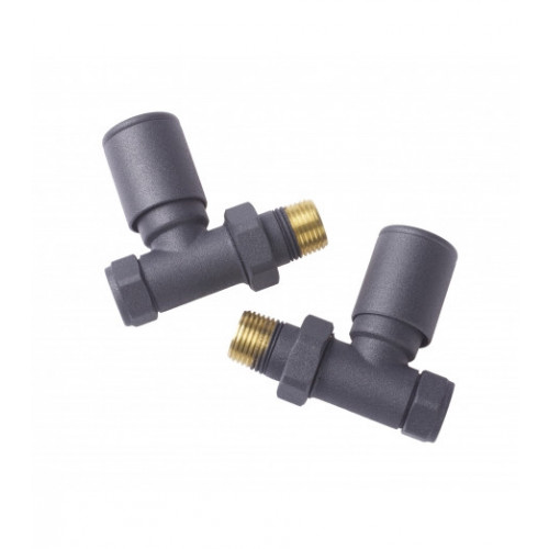 Biasi Round Straight Manual Radiator Valves - Anthracite (Pair)