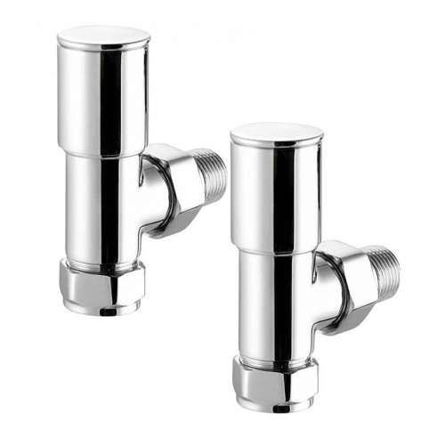 Biasi Round Angled Manual Radiator Valves - Chrome (Pair)