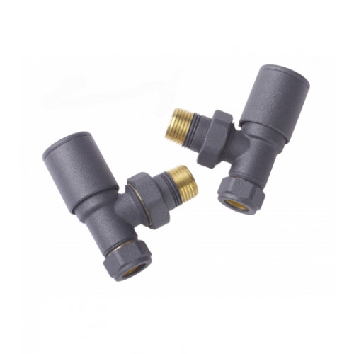 Biasi Round Angled Manual Radiator Valves - Anthracite (Pair)