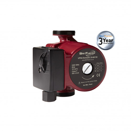 BritTherm UPSA 25-60/130 3 Speed Domestic Heating Circulating Pump