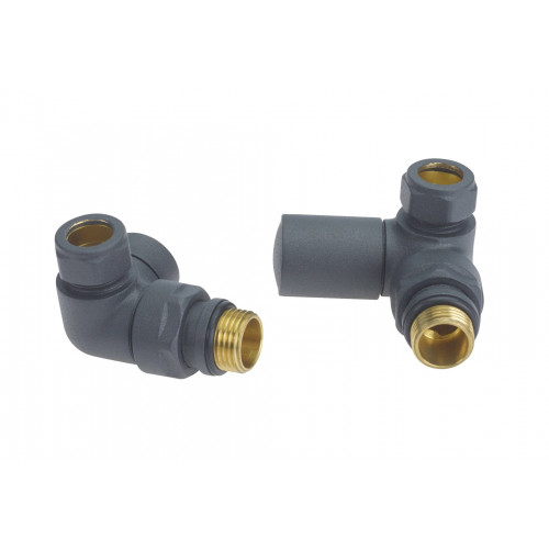 Biasi Round Corner Manual Radiator Valves Anthracite (Pair)