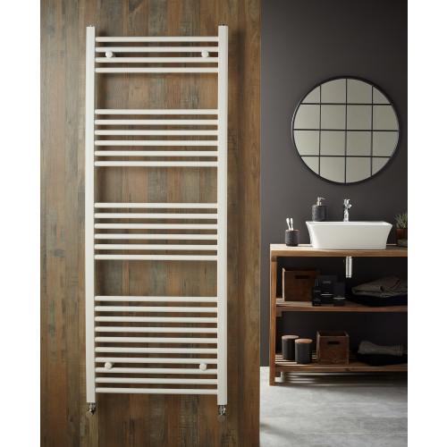 Redroom Elan 1200mm x 500mm Straight White Towel Rail