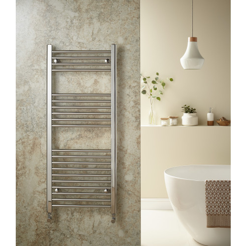 Redroom Elan 1200mm x 500mm Straight Chrome Towel Rail