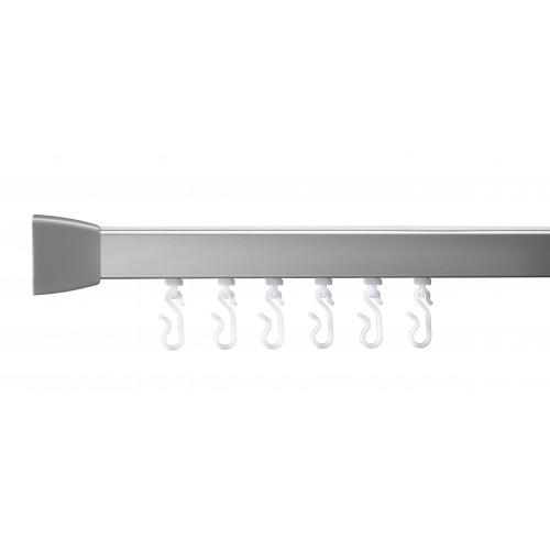 Aqua Straight Curtain Rail 1830mm Silver
