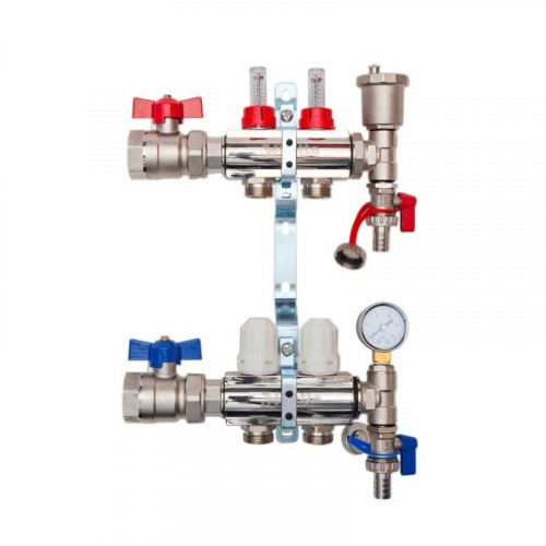 Hetta Wet Under Floor Heating Manifold + Isolation Valves - 2 Port