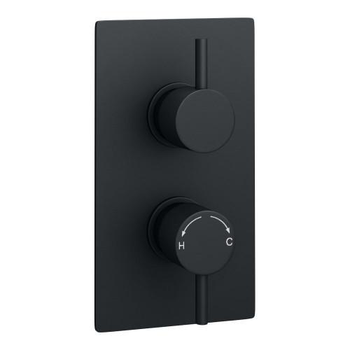 Kartell Nero Round Concealed 1 Outlet Shower Valve With Round Handles - Matt Black