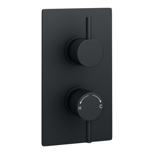 Kartell Nero Round Concealed 1 Outlet Shower Valve With Round Handles - Matt Black