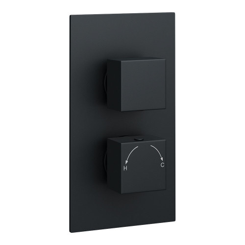 Kartell Nero Round Concealed 1 Outlet Shower Valve With Square Handles - Matt Black