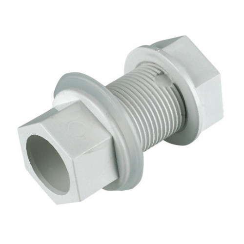Floplast Straight Tank Connector (White) - 21.5mm