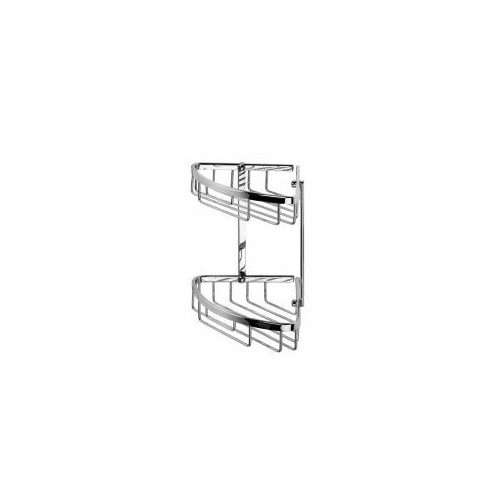 Croydex Slimline Aluminium Two Tier Small Corner Shower Basket Main