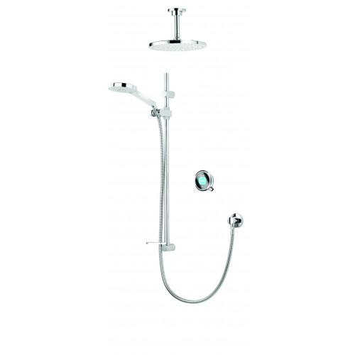 Aqualisa Concealed Shower Valve + Ceiling Mounted Shower Head + Shower Rail Kit - Pumped
