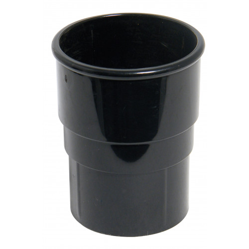 Floplast Down Pipe Connector Round (Black) - 68mm