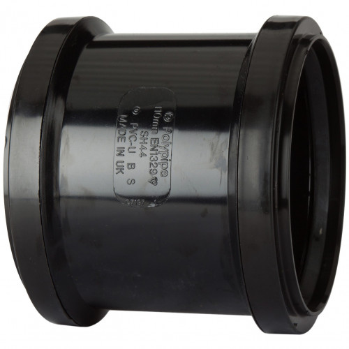 Polypipe Double Pipe Coupling (Black) - 82mm