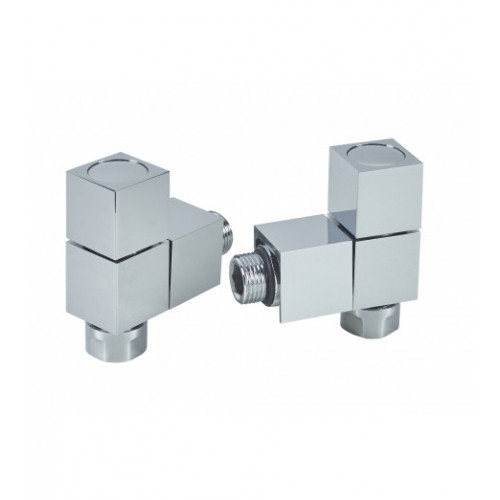 Biasi Square Corner Manual Radiator Valves - Chrome (Pair)