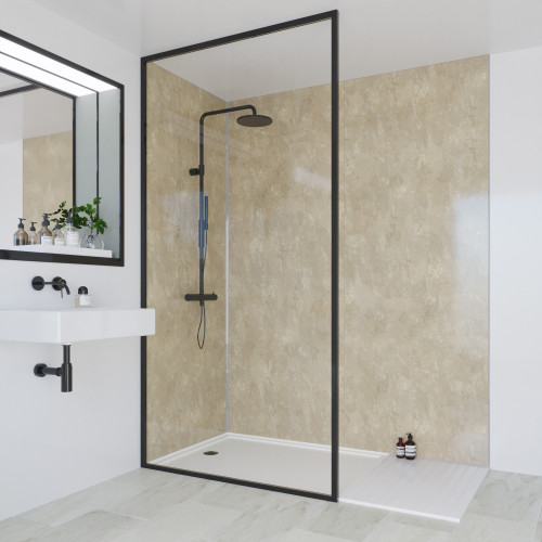 Multipanel Classic 2400mm x 1200mm Plain Edge Wall Panel - Travertine