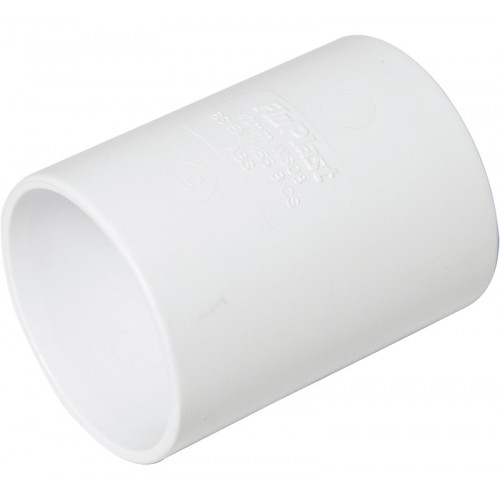 Floplast ABS Solvent Weld Straight Coupling (White) - 40mm